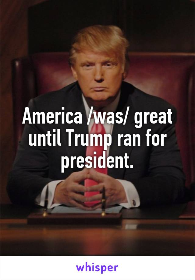 America /was/ great until Trump ran for president.