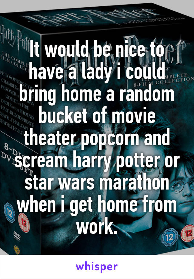 It would be nice to have a lady i could bring home a random bucket of movie theater popcorn and scream harry potter or star wars marathon when i get home from work.
