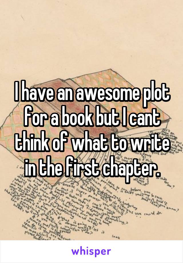 I have an awesome plot for a book but I cant think of what to write in the first chapter.