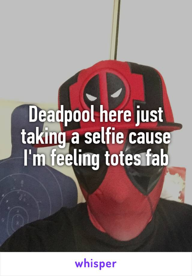 Deadpool here just taking a selfie cause I'm feeling totes fab