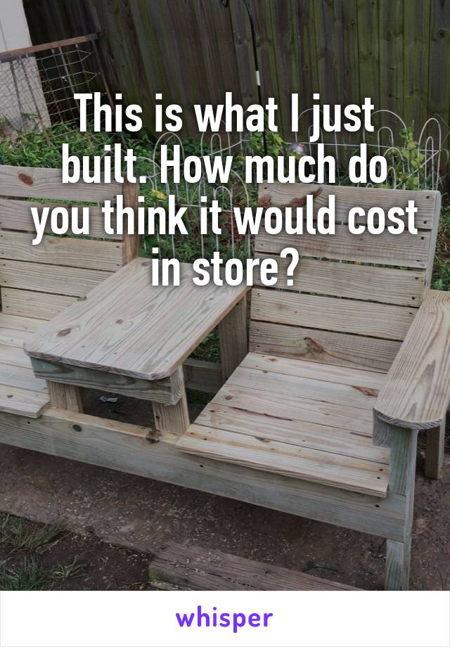 This is what I just built. How much do you think it would cost in store?