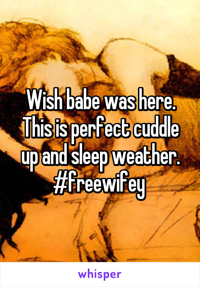 Wish babe was here. This is perfect cuddle up and sleep weather. #freewifey