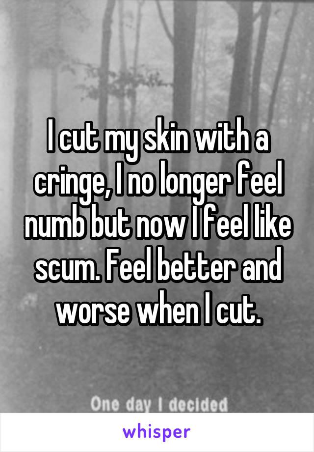 I cut my skin with a cringe, I no longer feel numb but now I feel like scum. Feel better and worse when I cut.