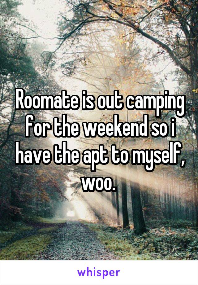 Roomate is out camping for the weekend so i have the apt to myself, woo.
