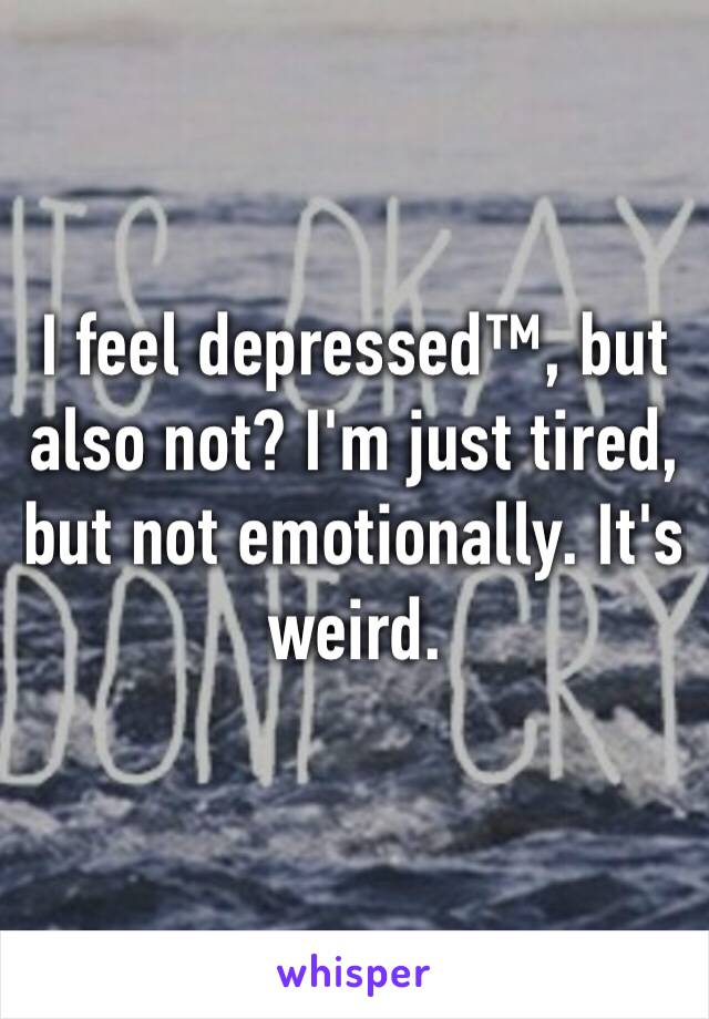 I feel depressed™, but also not? I'm just tired, but not emotionally. It's weird.