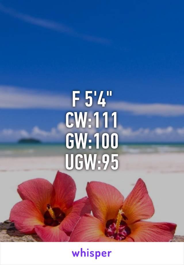 """F 5'4"""" CW:111 GW:100 UGW:95"""