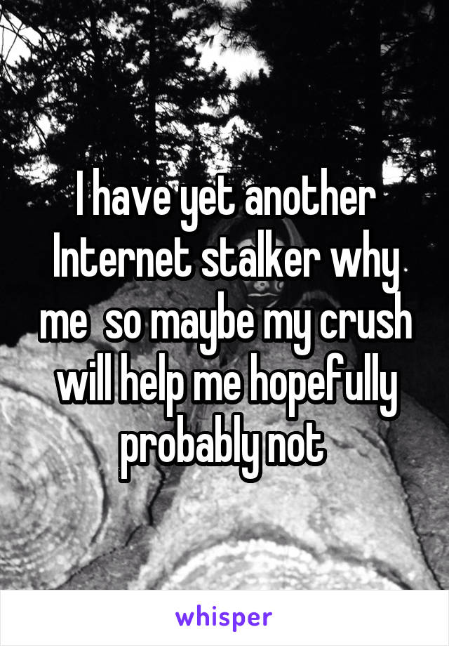 I have yet another Internet stalker why me  so maybe my crush will help me hopefully probably not