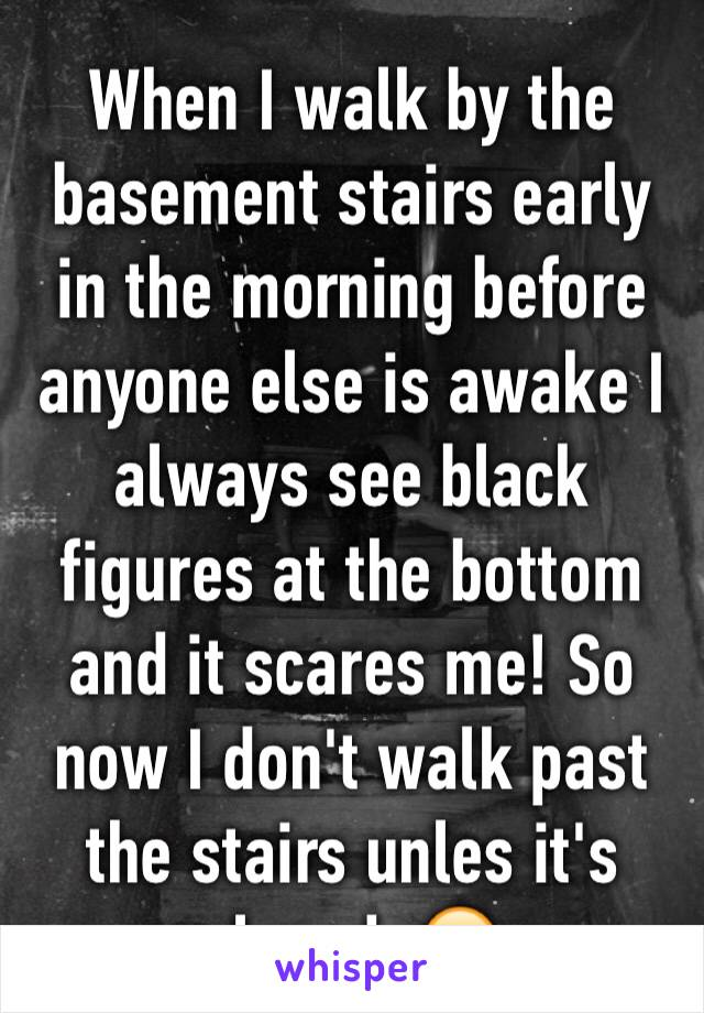 When I walk by the basement stairs early in the morning before anyone else is awake I always see black figures at the bottom and it scares me! So now I don't walk past the stairs unles it's closed. 😖