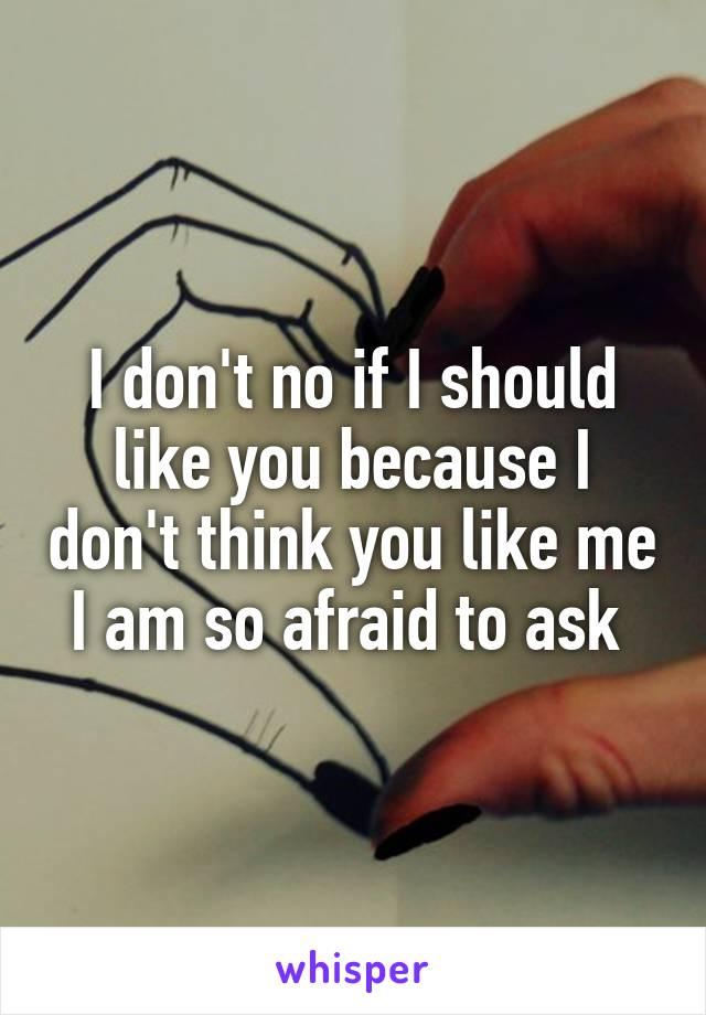 I don't no if I should like you because I don't think you like me I am so afraid to ask