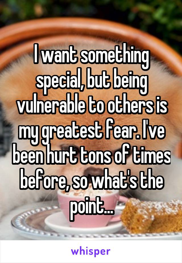 I want something special, but being vulnerable to others is my greatest fear. I've been hurt tons of times before, so what's the point...