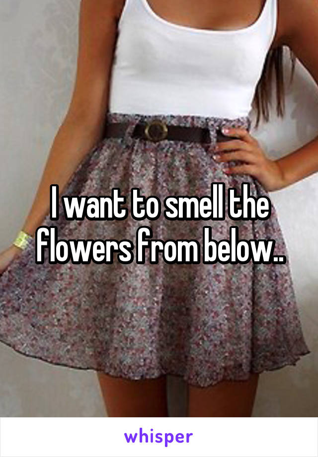 I want to smell the flowers from below..