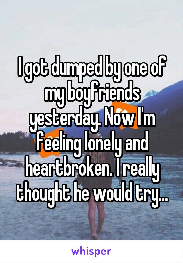 I got dumped by one of my boyfriends yesterday. Now I'm feeling lonely and heartbroken. I really thought he would try...