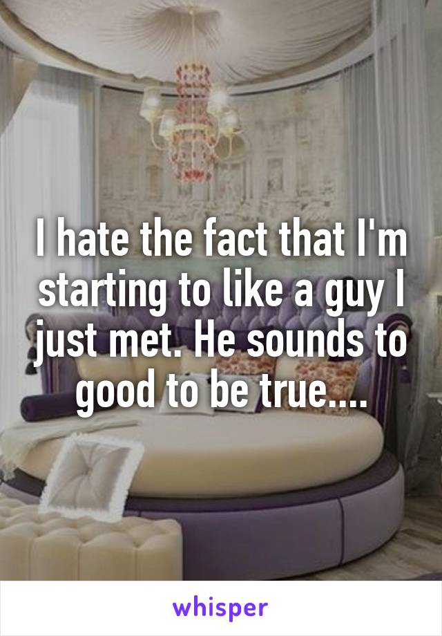 I hate the fact that I'm starting to like a guy I just met. He sounds to good to be true....