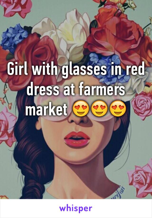 Girl with glasses in red dress at farmers market 😍😍😍
