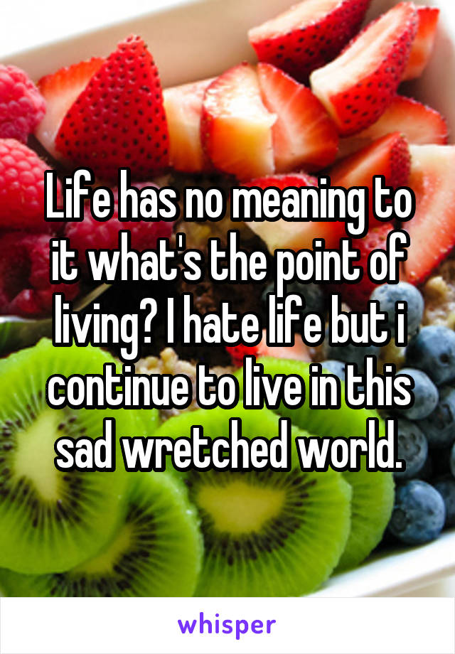 Life has no meaning to it what's the point of living? I hate life but i continue to live in this sad wretched world.