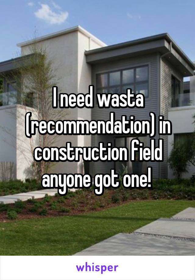 I need wasta (recommendation) in construction field anyone got one!