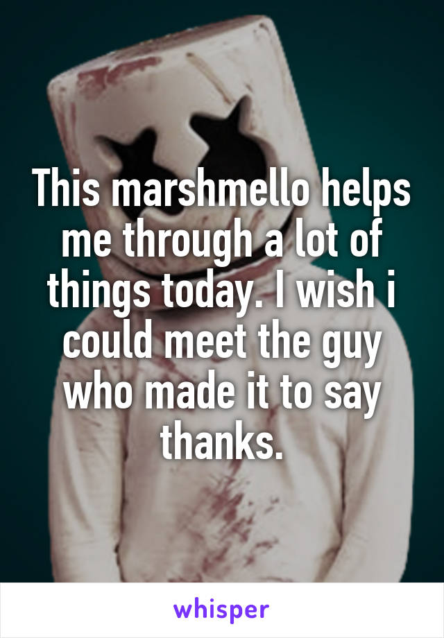 This marshmello helps me through a lot of things today. I wish i could meet the guy who made it to say thanks.