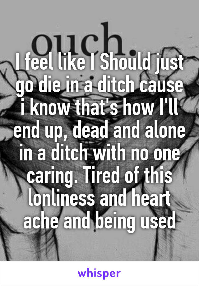 I feel like I Should just go die in a ditch cause i know that's how I'll end up, dead and alone in a ditch with no one caring. Tired of this lonliness and heart ache and being used