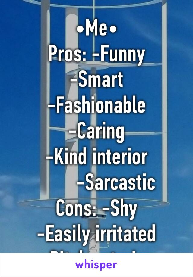•Me• Pros: -Funny -Smart -Fashionable -Caring -Kind interior         -Sarcastic Cons: -Shy -Easily irritated -Bitch exterior