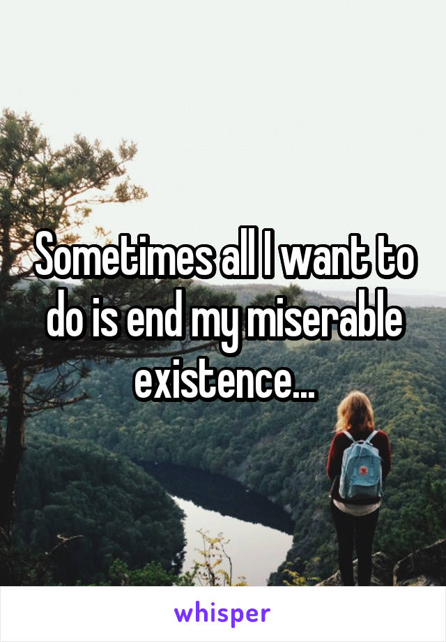 Sometimes all I want to do is end my miserable existence...