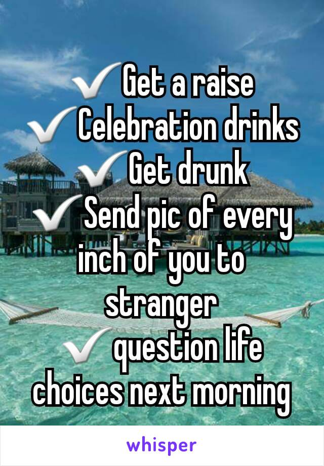 ✅Get a raise ✅Celebration drinks ✅Get drunk ✅Send pic of every inch of you to stranger ✅question life choices next morning