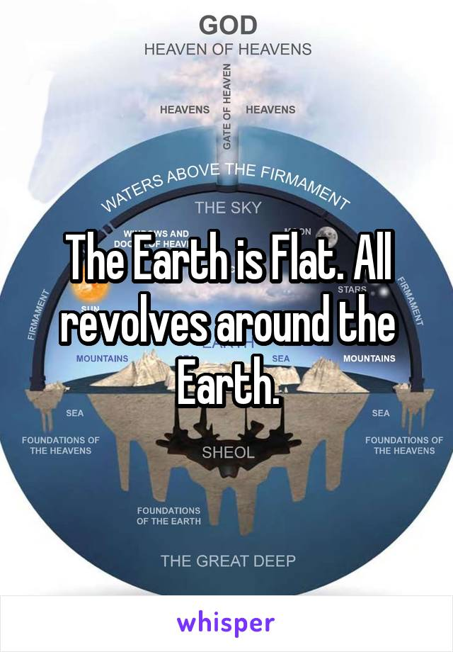 The Earth is Flat. All revolves around the Earth.
