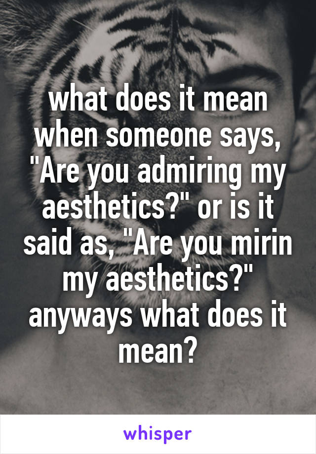 "what does it mean when someone says, ""Are you admiring my aesthetics?"" or is it said as, ""Are you mirin my aesthetics?"" anyways what does it mean?"