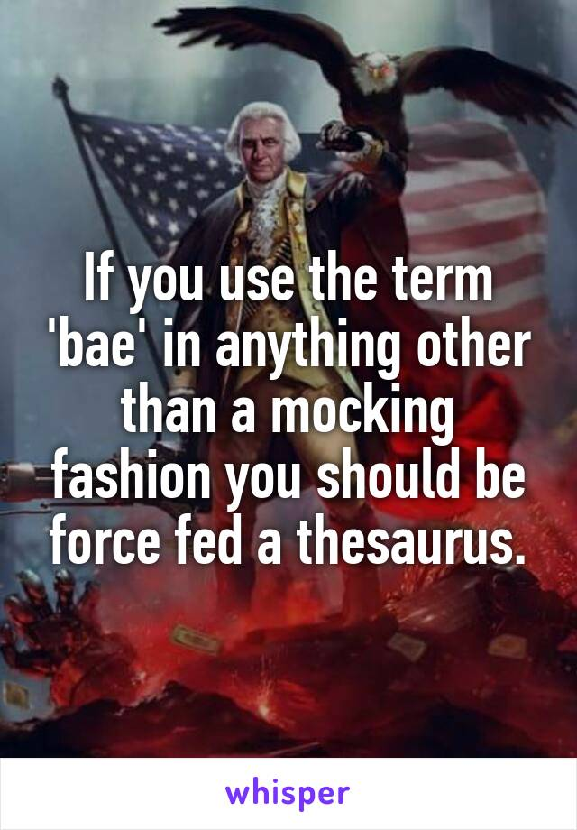 If you use the term 'bae' in anything other than a mocking fashion you should be force fed a thesaurus.
