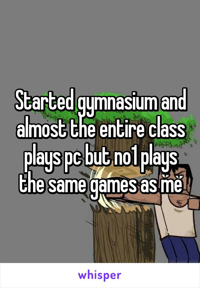Started gymnasium and almost the entire class plays pc but no1 plays the same games as me