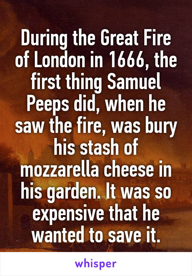 During the Great Fire of London in 1666, the first thing Samuel Peeps did, when he saw the fire, was bury his stash of mozzarella cheese in his garden. It was so expensive that he wanted to save it.