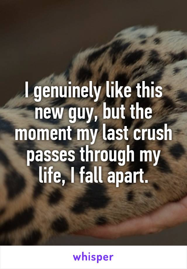 I genuinely like this new guy, but the moment my last crush passes through my life, I fall apart.