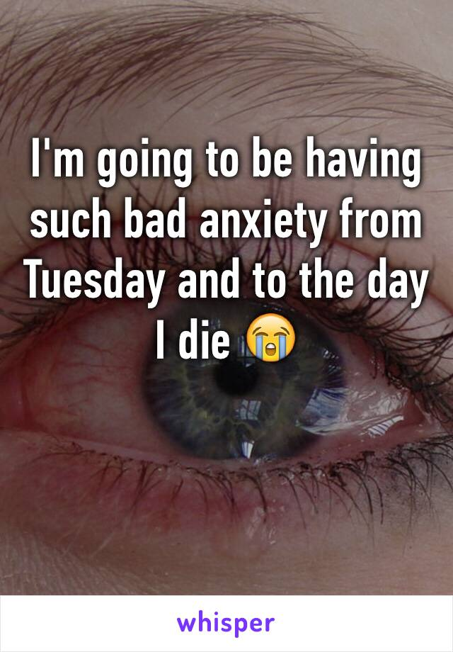 I'm going to be having such bad anxiety from Tuesday and to the day I die 😭