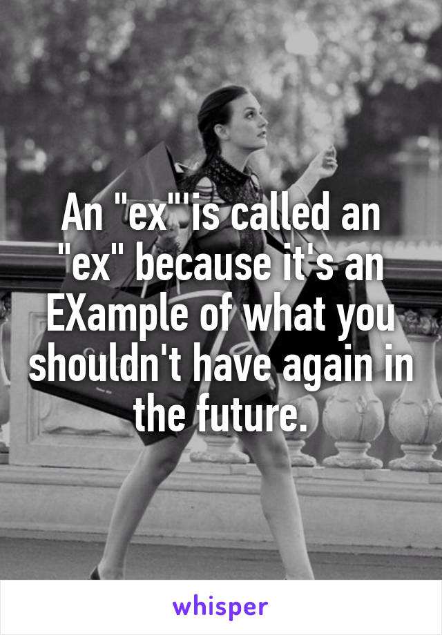 """An """"ex""""'is called an """"ex"""" because it's an EXample of what you shouldn't have again in the future."""