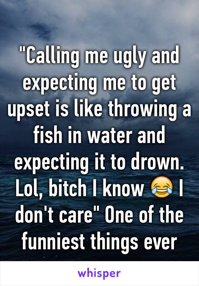 """""""Calling me ugly and expecting me to get upset is like throwing a fish in water and expecting it to drown. Lol, bitch I know 😂 I don't care"""" One of the funniest things ever"""