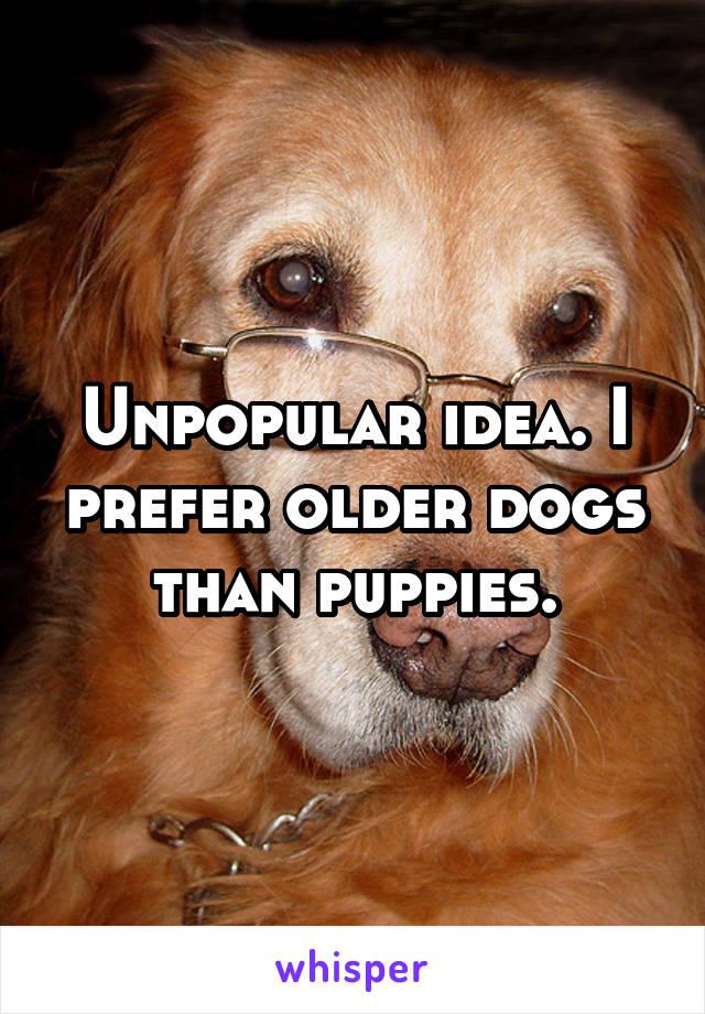 Unpopular idea. I prefer older dogs than puppies.