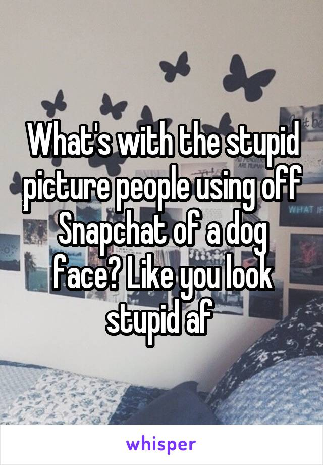 What's with the stupid picture people using off Snapchat of a dog face? Like you look stupid af