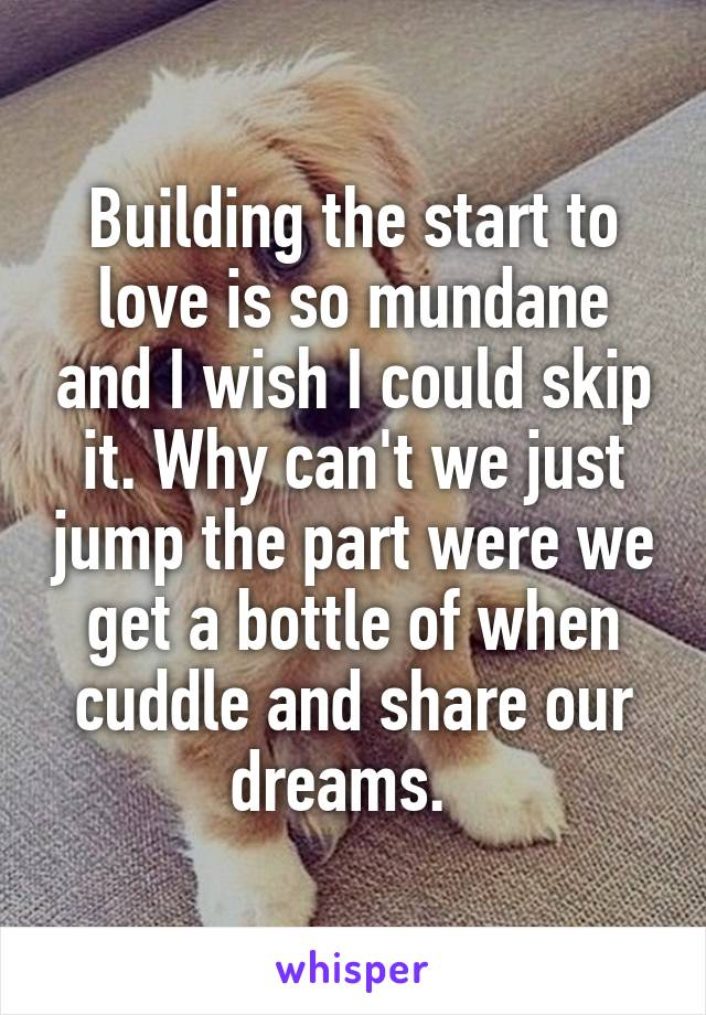 Building the start to love is so mundane and I wish I could skip it. Why can't we just jump the part were we get a bottle of when cuddle and share our dreams.
