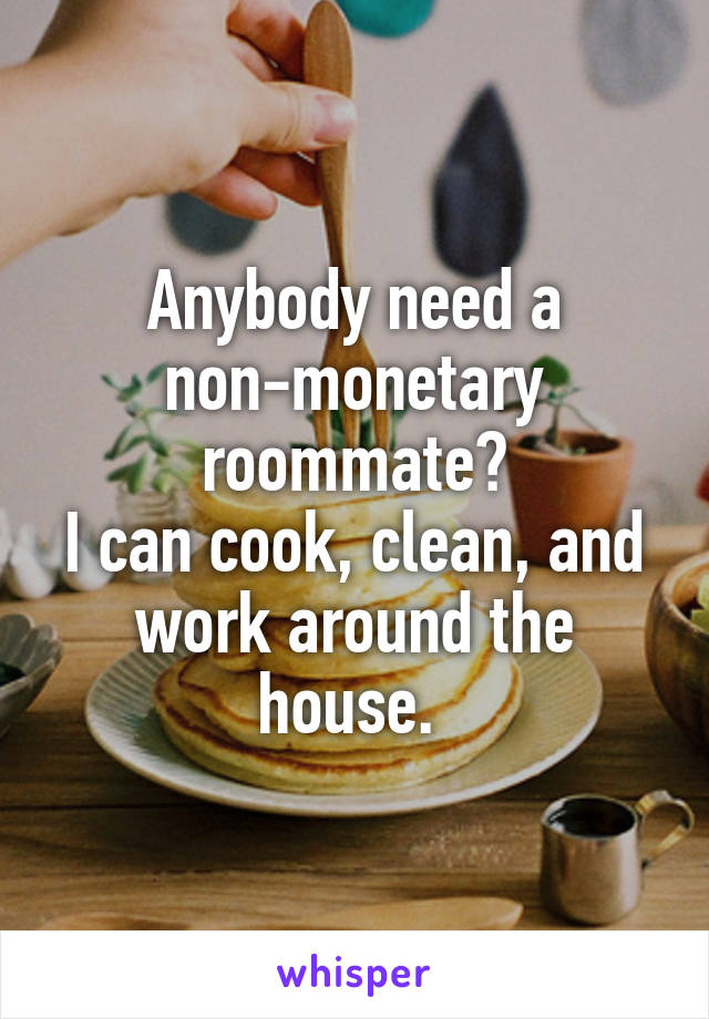 Anybody need a non-monetary roommate? I can cook, clean, and work around the house.