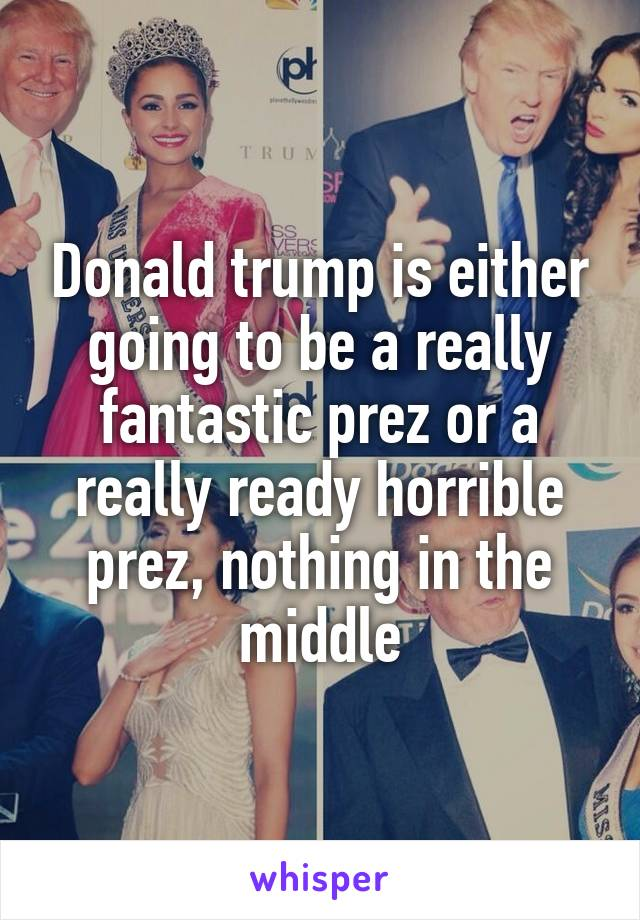 Donald trump is either going to be a really fantastic prez or a really ready horrible prez, nothing in the middle