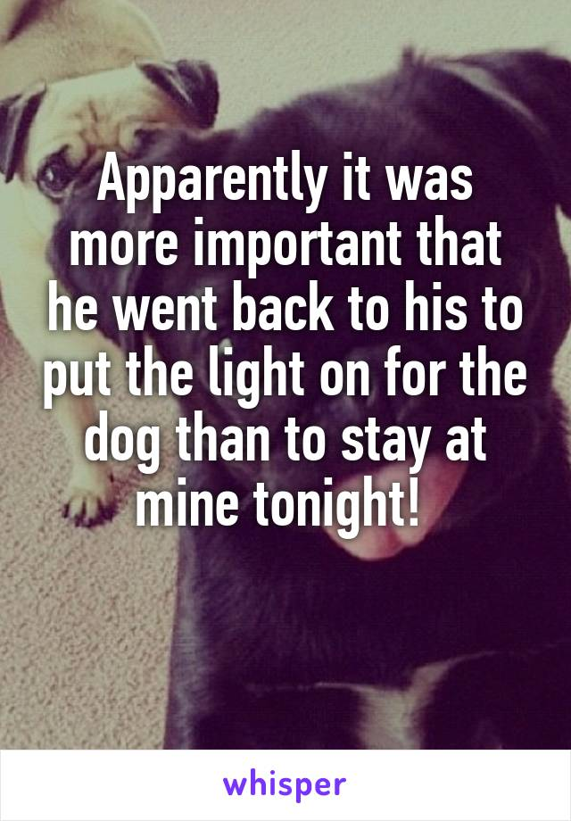 Apparently it was more important that he went back to his to put the light on for the dog than to stay at mine tonight!