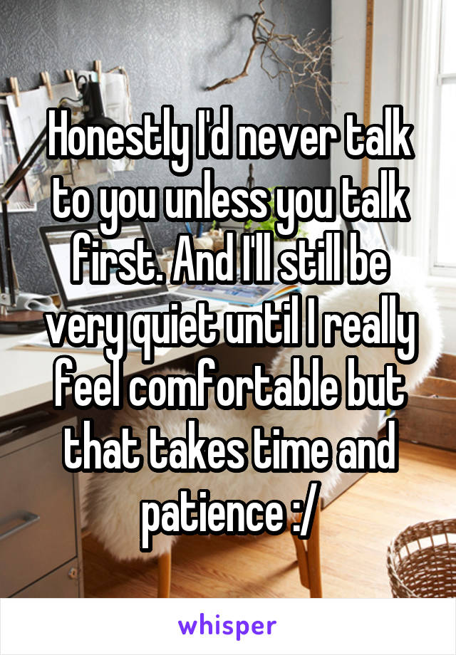 Honestly I'd never talk to you unless you talk first. And I'll still be very quiet until I really feel comfortable but that takes time and patience :/