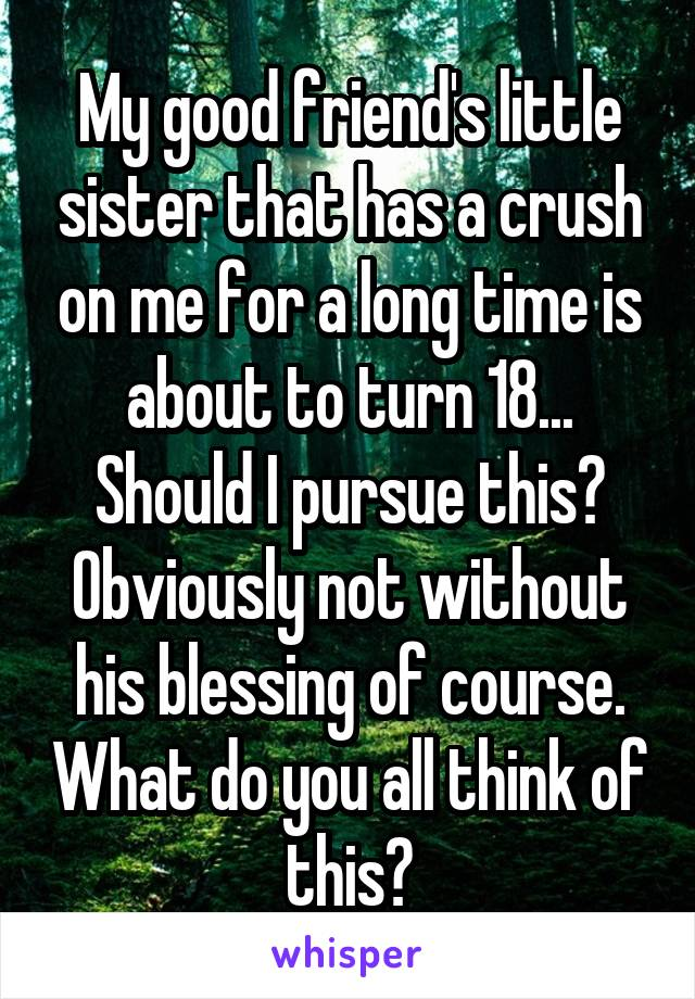 My good friend's little sister that has a crush on me for a long time is about to turn 18... Should I pursue this? Obviously not without his blessing of course. What do you all think of this?
