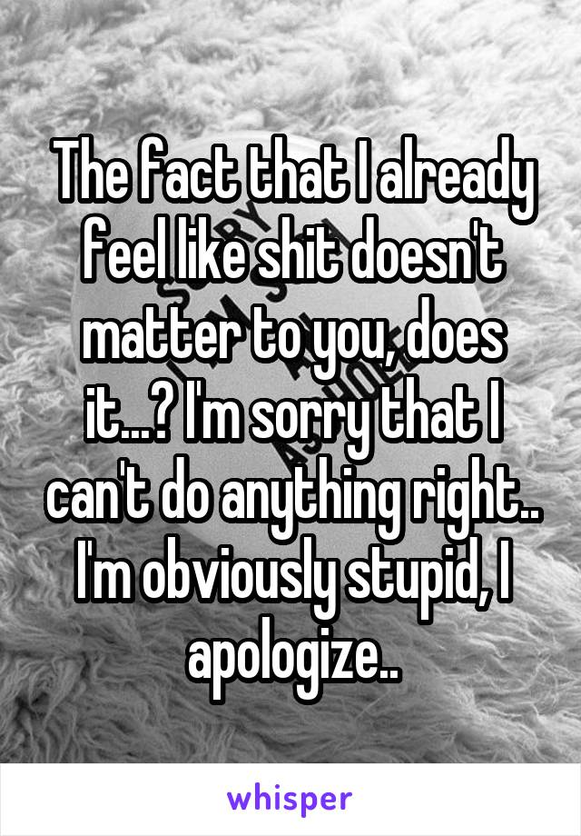 The fact that I already feel like shit doesn't matter to you, does it...? I'm sorry that I can't do anything right.. I'm obviously stupid, I apologize..
