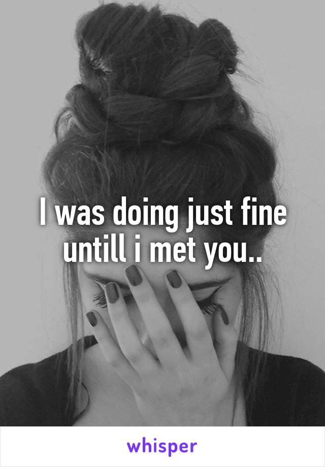 I was doing just fine untill i met you..