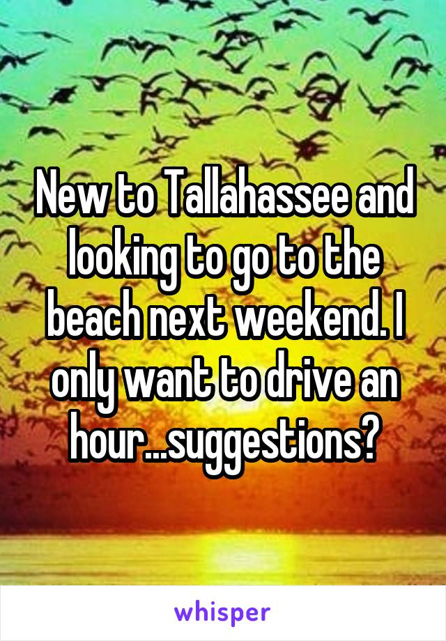 New to Tallahassee and looking to go to the beach next weekend. I only want to drive an hour...suggestions?