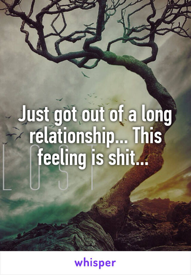 Just got out of a long relationship... This feeling is shit...