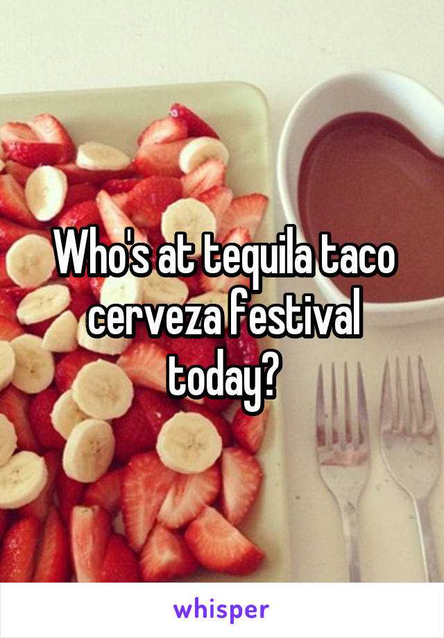 Who's at tequila taco cerveza festival today?