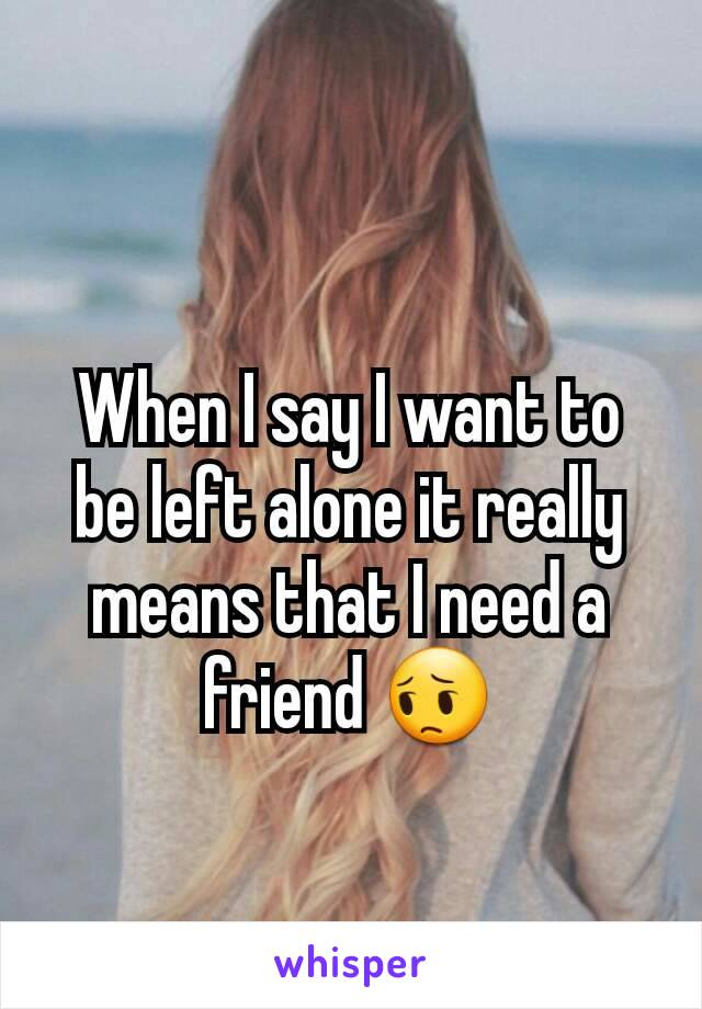 When I say I want to be left alone it really means that I need a friend 😔