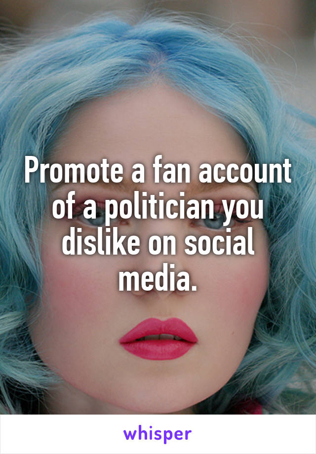 Promote a fan account of a politician you dislike on social media.