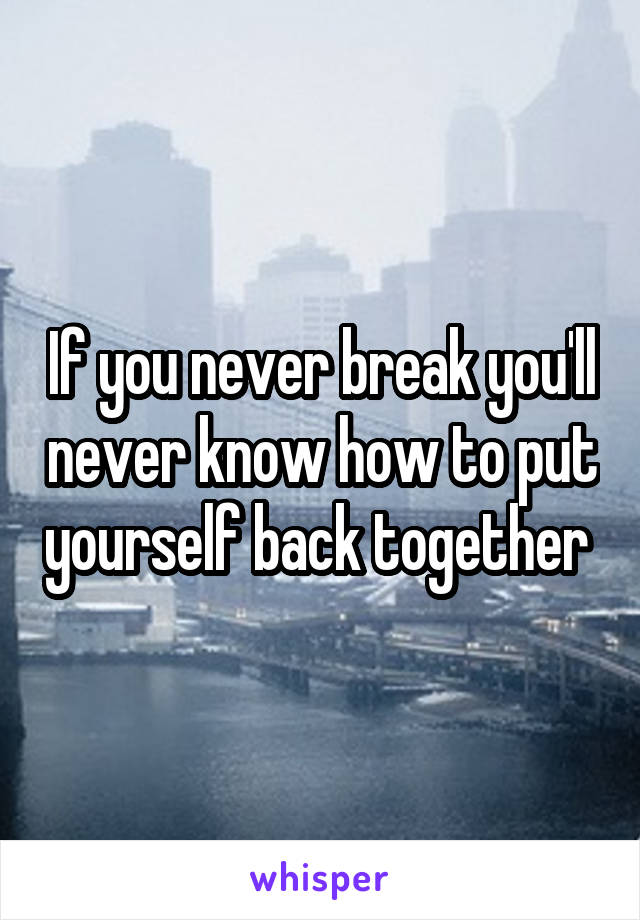 If you never break you'll never know how to put yourself back together